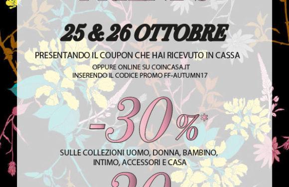 COIN CASA: Family e Friends 25 – 27 Ottobre